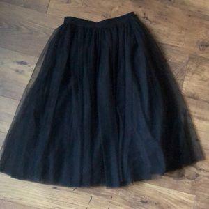 Black Midi Tulle Skirt